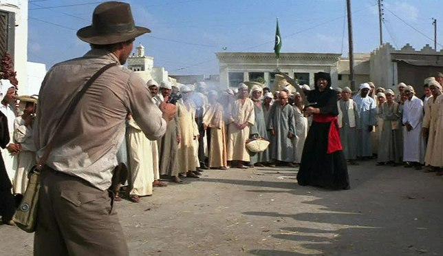CLASSIC MOVIE SCENES #14 – RAIDERS OF THE LOST ARK (1981) – GUN VERSUS SWORD!